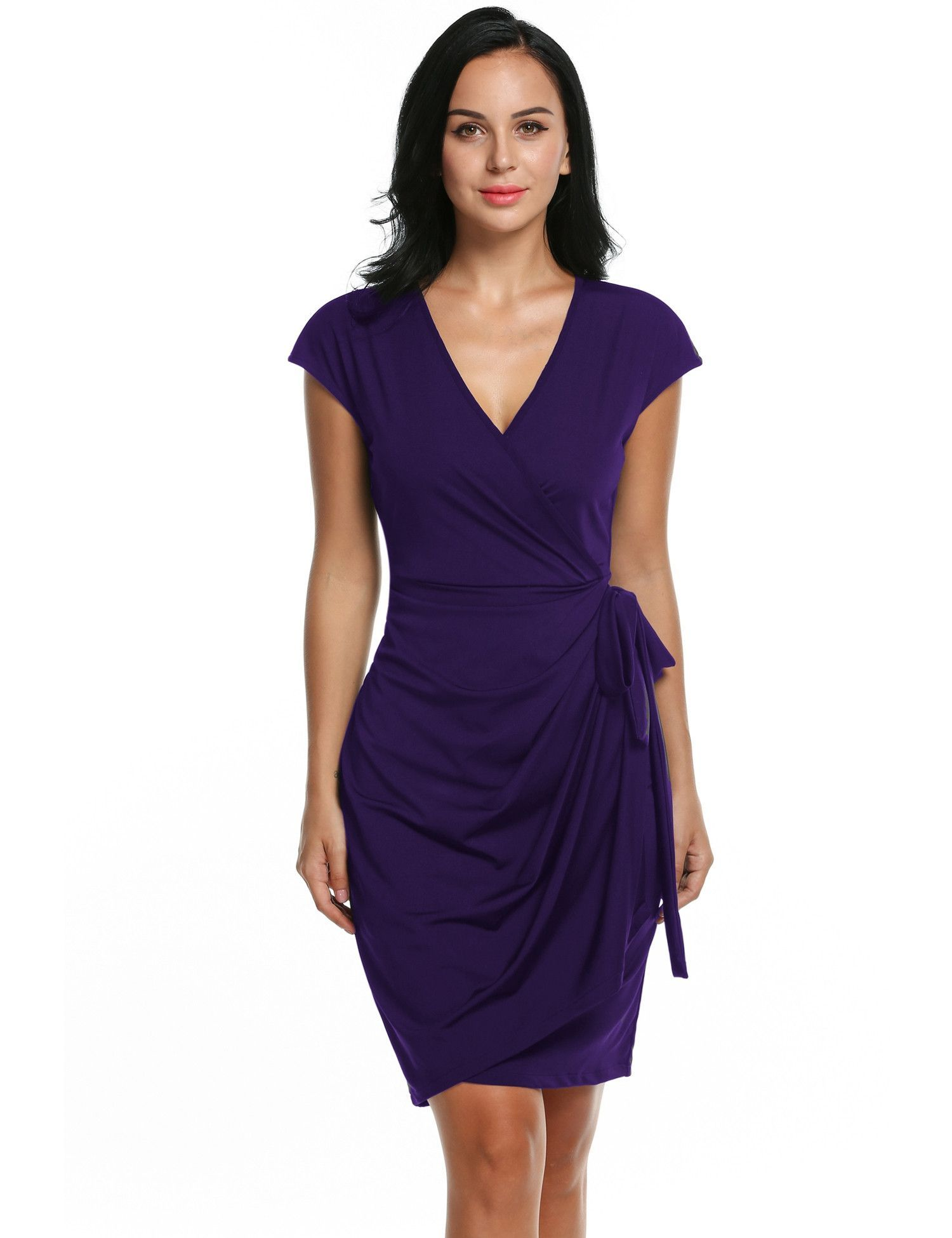 Womens Classic Cap Sleeve V-Neck Draped Tie-Belt Cocktail Wrap Party Dresses