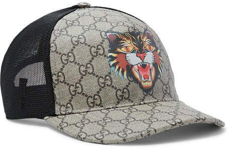 a504765378178 Gucci Angry Cat Printed Coated-Canvas And Mesh Baseball Cap  Gucci  caps