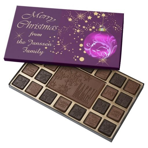Purple Bulb Gold Stars Personalized Christmas 45 Piece Assorted Chocolate Box by Sand Creek Ventures