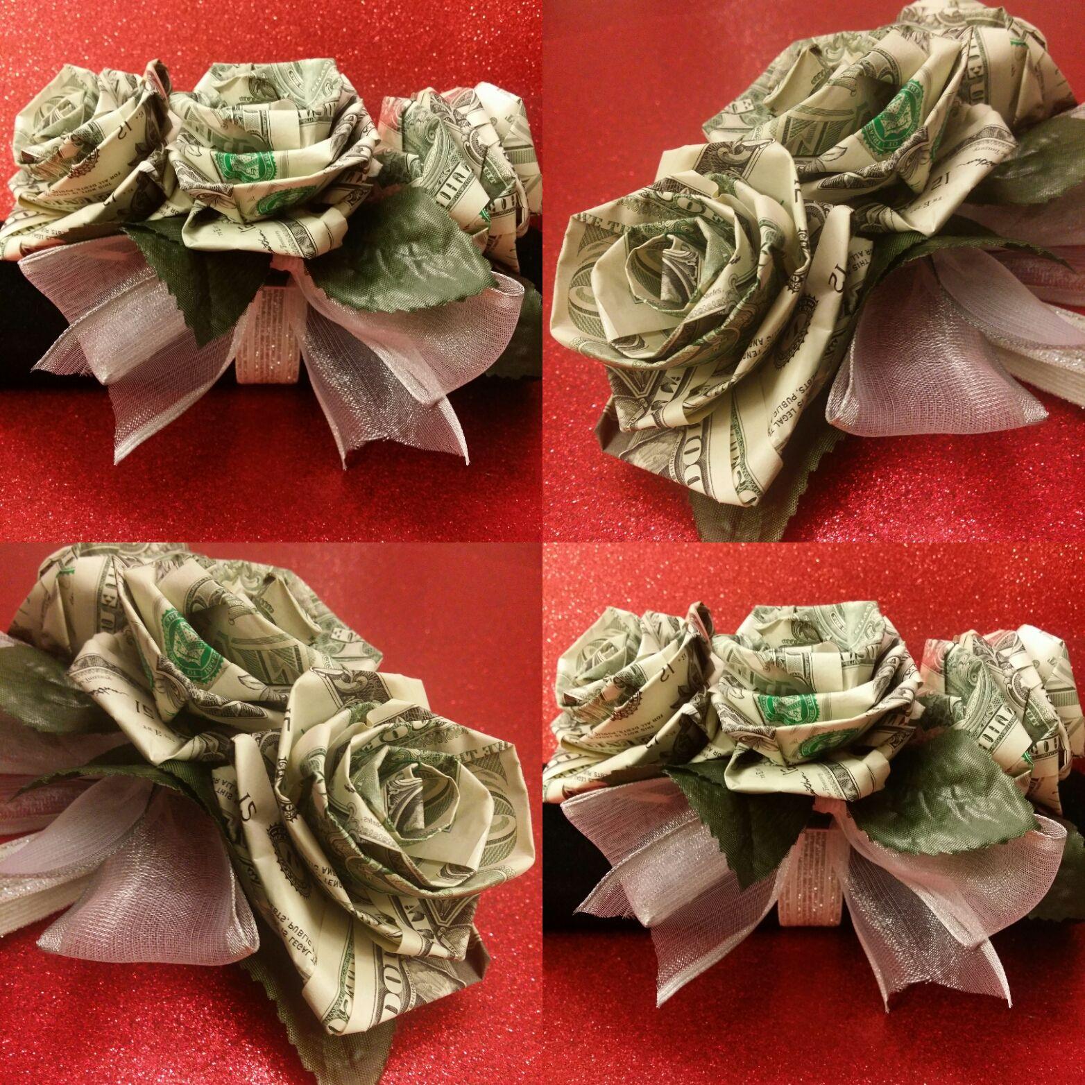 Three Roses Money Corsage Creative Money Gifts Money Origami Money Rose