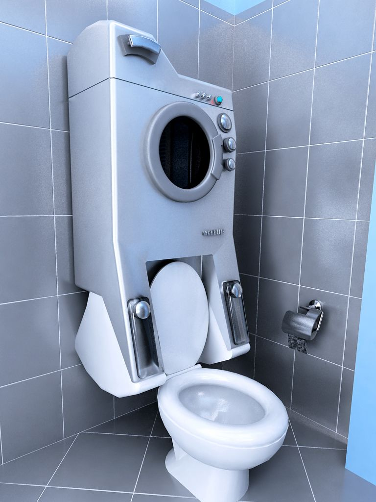 Washup Washes Your Clothes Then Flushes Your Toilet Integrated Washing Machines Weird Furniture Small Bathroom