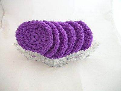 Set of Six Purple  Dish Scrubbies by peacoxcreations on Etsy, $12.50