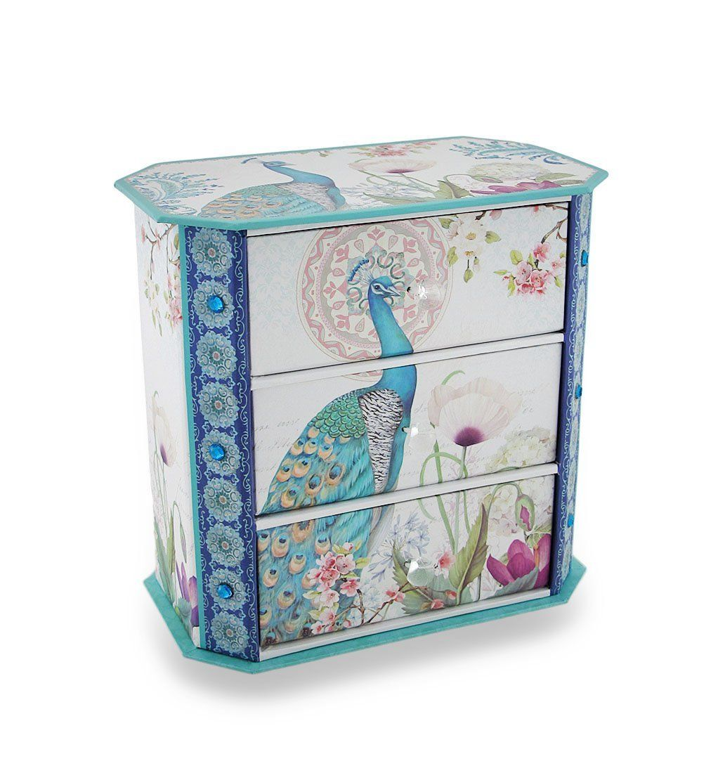 Pretty Jewelry Box Amazon  Peacock Flower Garden 3 Drawer Jewelry Trinket Box