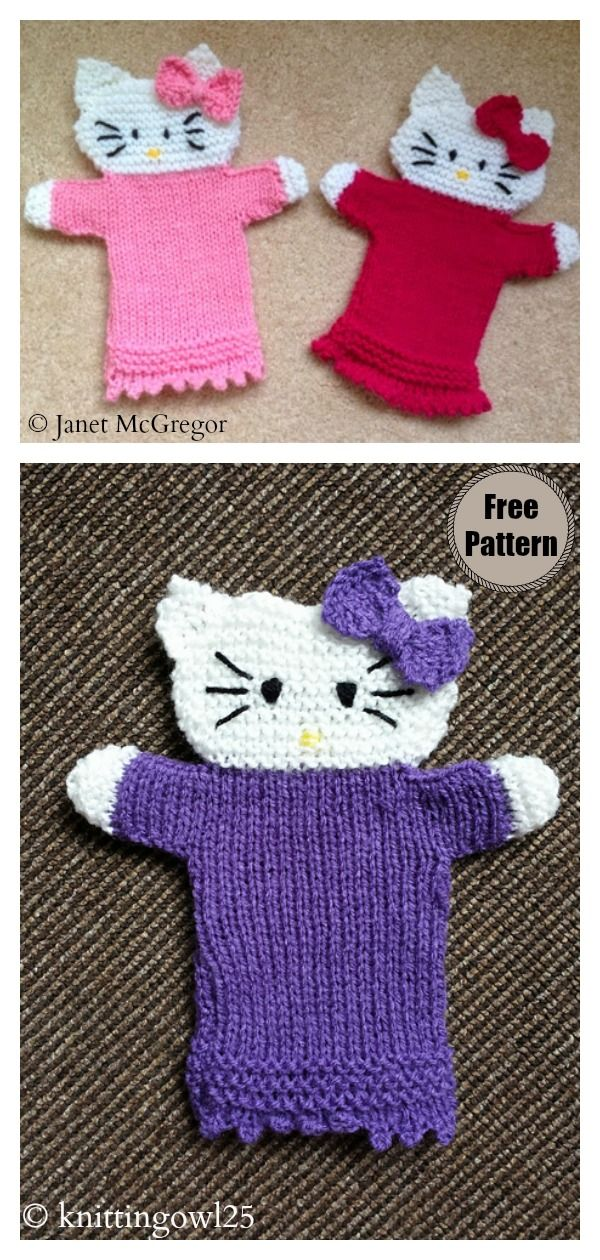 Hello Kitty Hand Puppet Free Knitting Pattern #handpuppets
