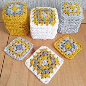 One third of round 5 done I love watching these granny square piles grow in size