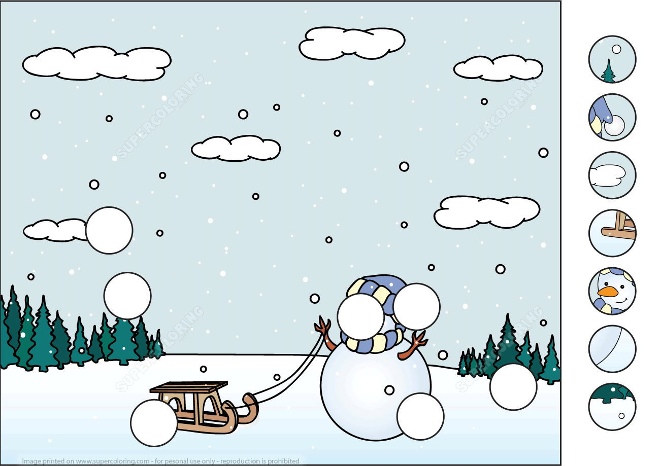 Snowman With Sled In The Winter Forest Puzzle