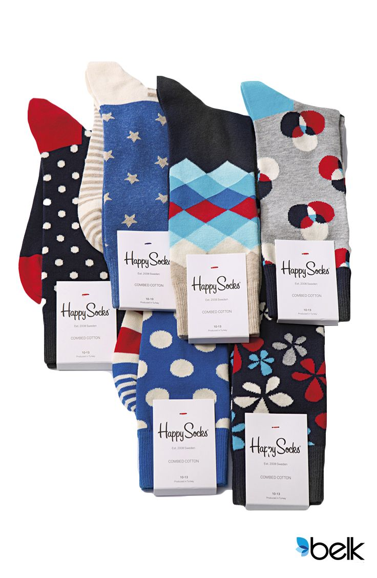 With Happy Socks® the days of only having boring, monochrome socks to choose from are over. From striking patterns and abstract designs to bold takes on traditional argyle, dots and stripes, Happy Socks give you dozens of ways to liven up your sock drawer. From the office to the dance floor, add some whimsy to your wardrobe when you order them online at Belk.com.