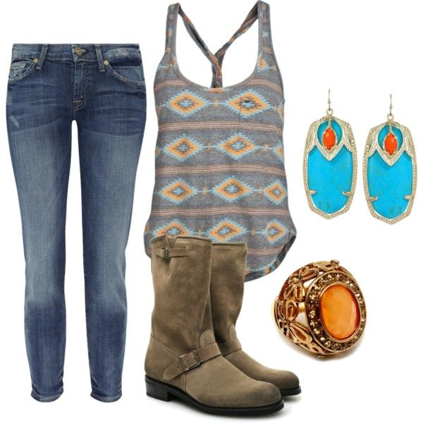 turquoise & orange, created by on Polyvore