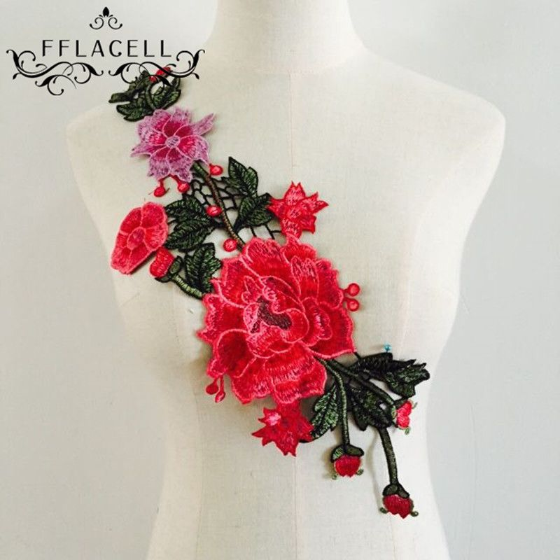 Flower Applique Badge Embroidered Sew on Floral Collar Patch Dress DIY Craft NEW