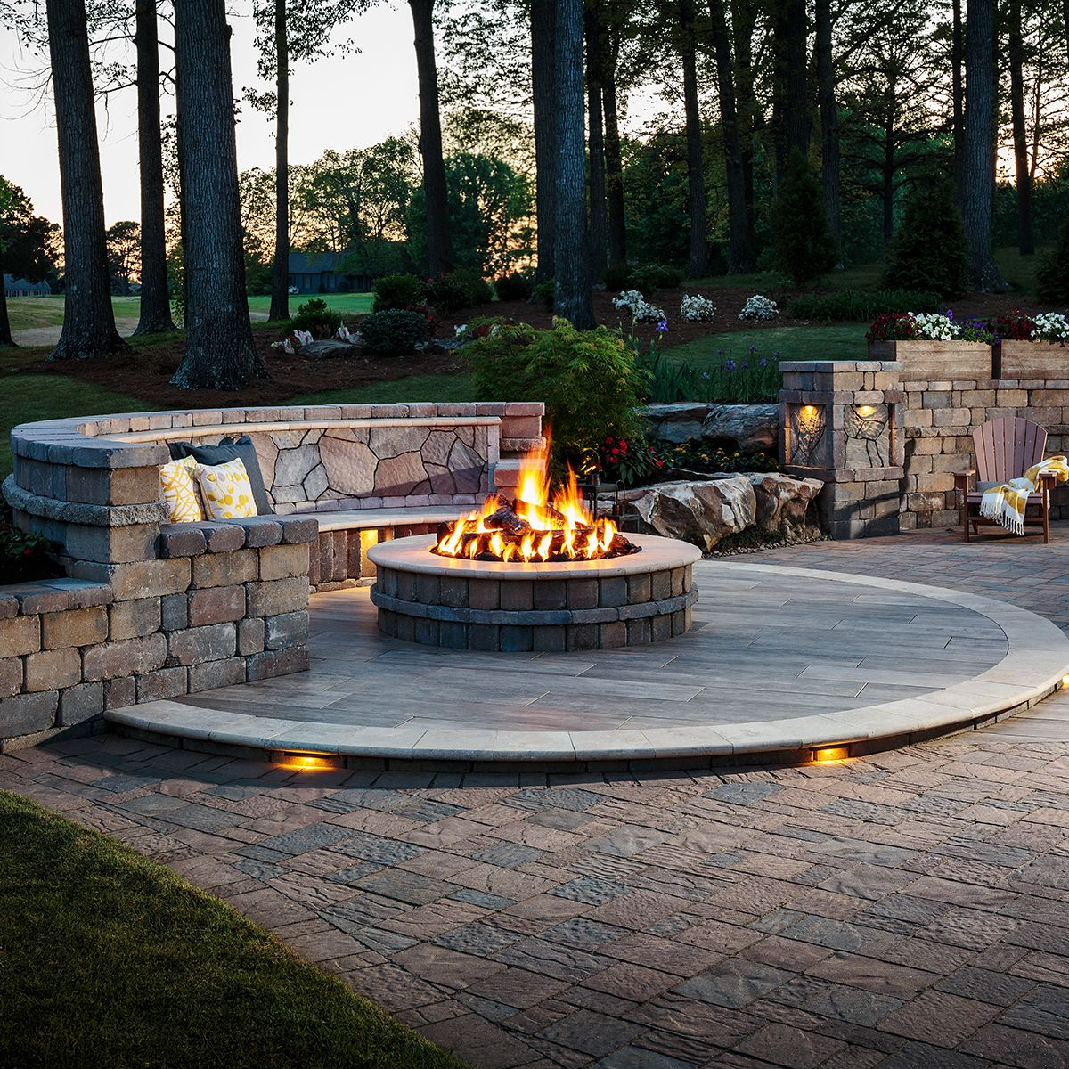 this fire pit has a seat wall that s perfect for sitting on backyard fire pit landscaping id=72243