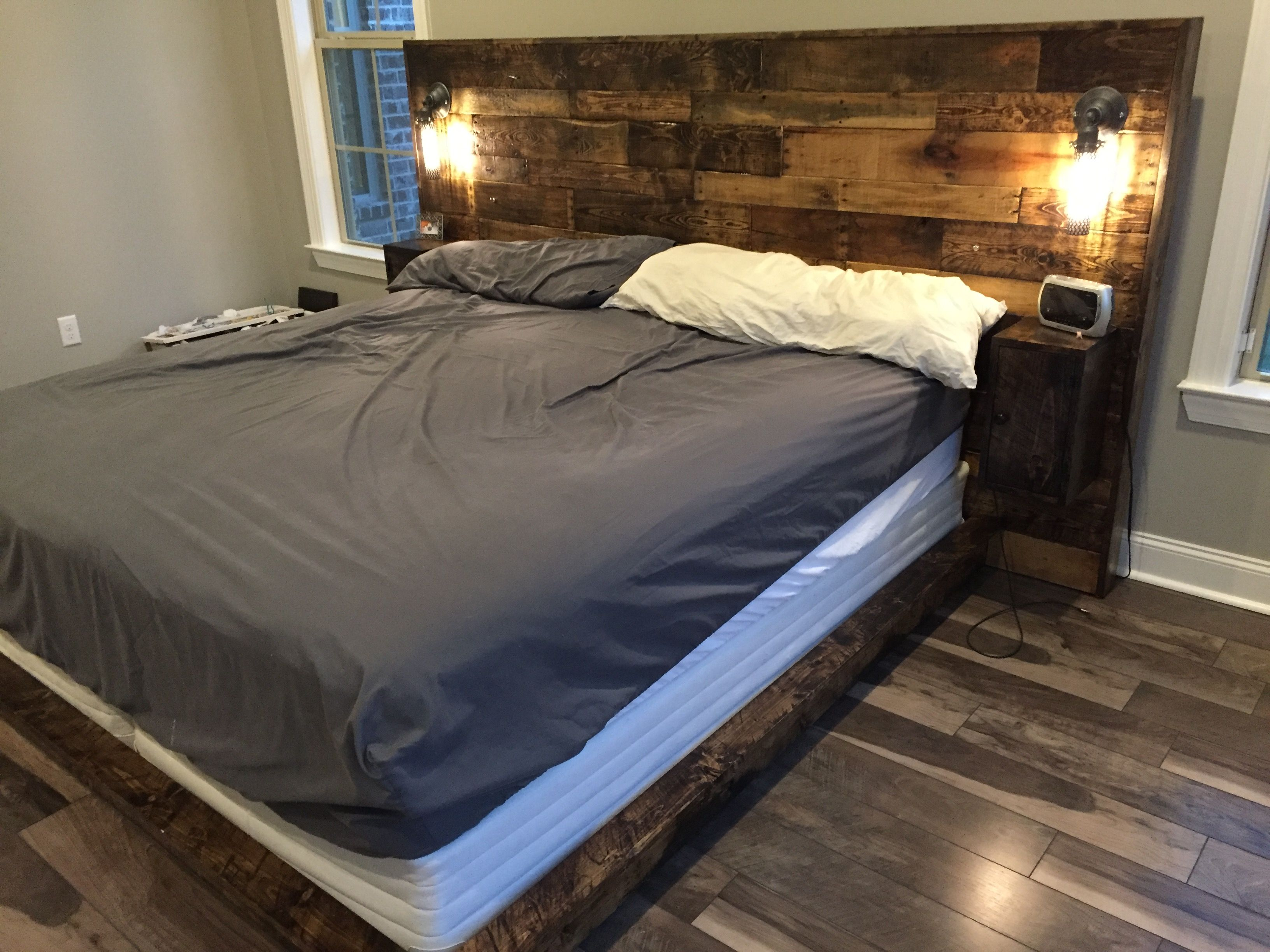 Custom California King Headboard with Natural Oil Stain | Rustic