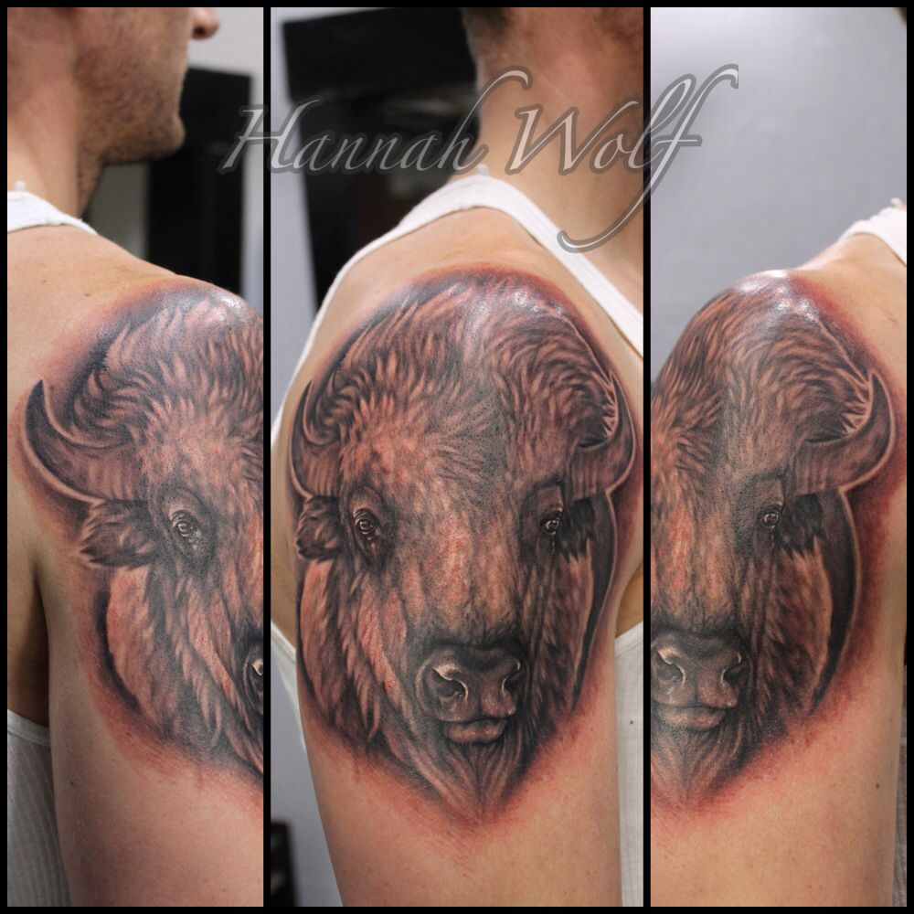 White buffalo tattoo by hannah wolf | Tattoos | Buffalo tattoo ...