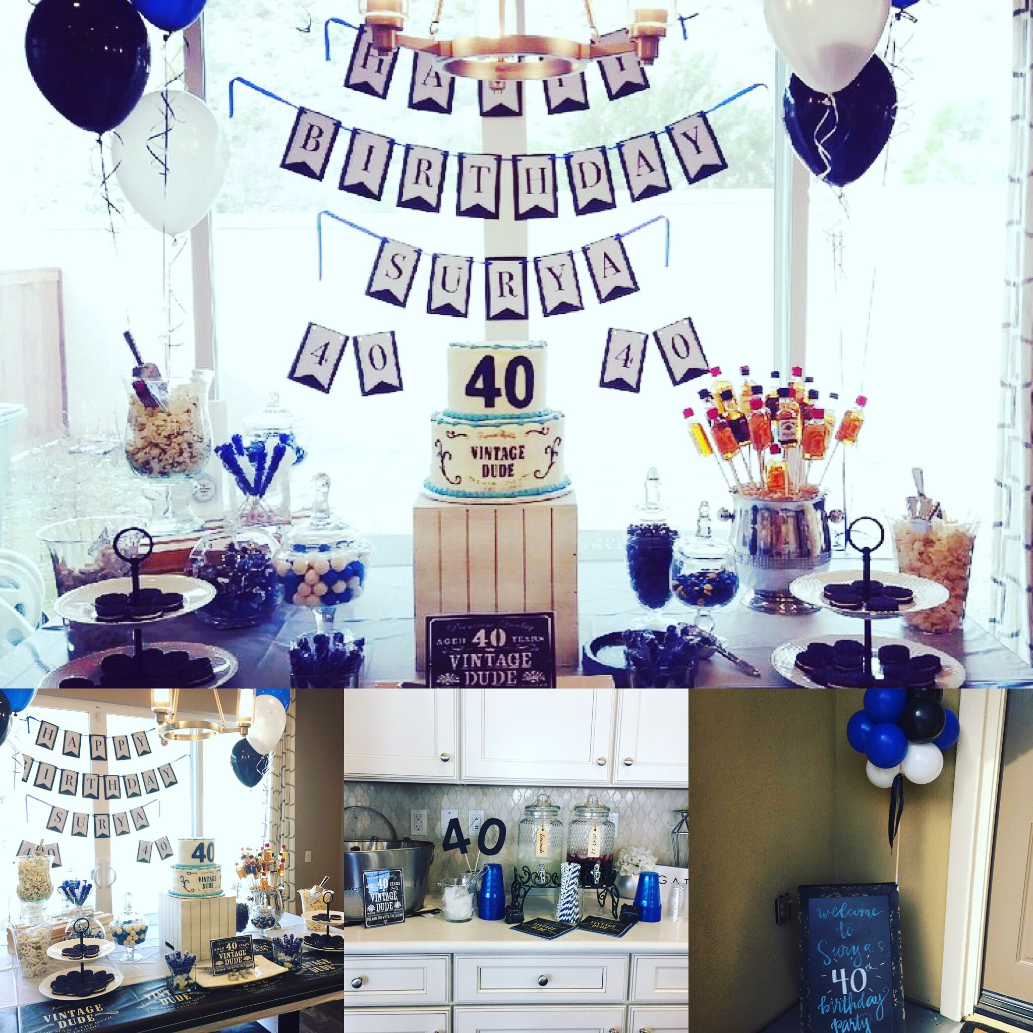 40th Birthday Decor Blue Black And White Vintage Dude
