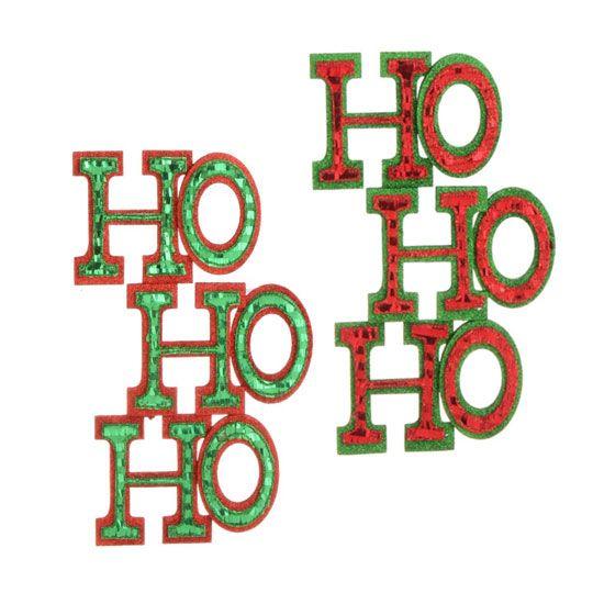 RAZ Merry Mistletoe Cut Out HO HO HO Sign set of 2  shelley b home and holiday