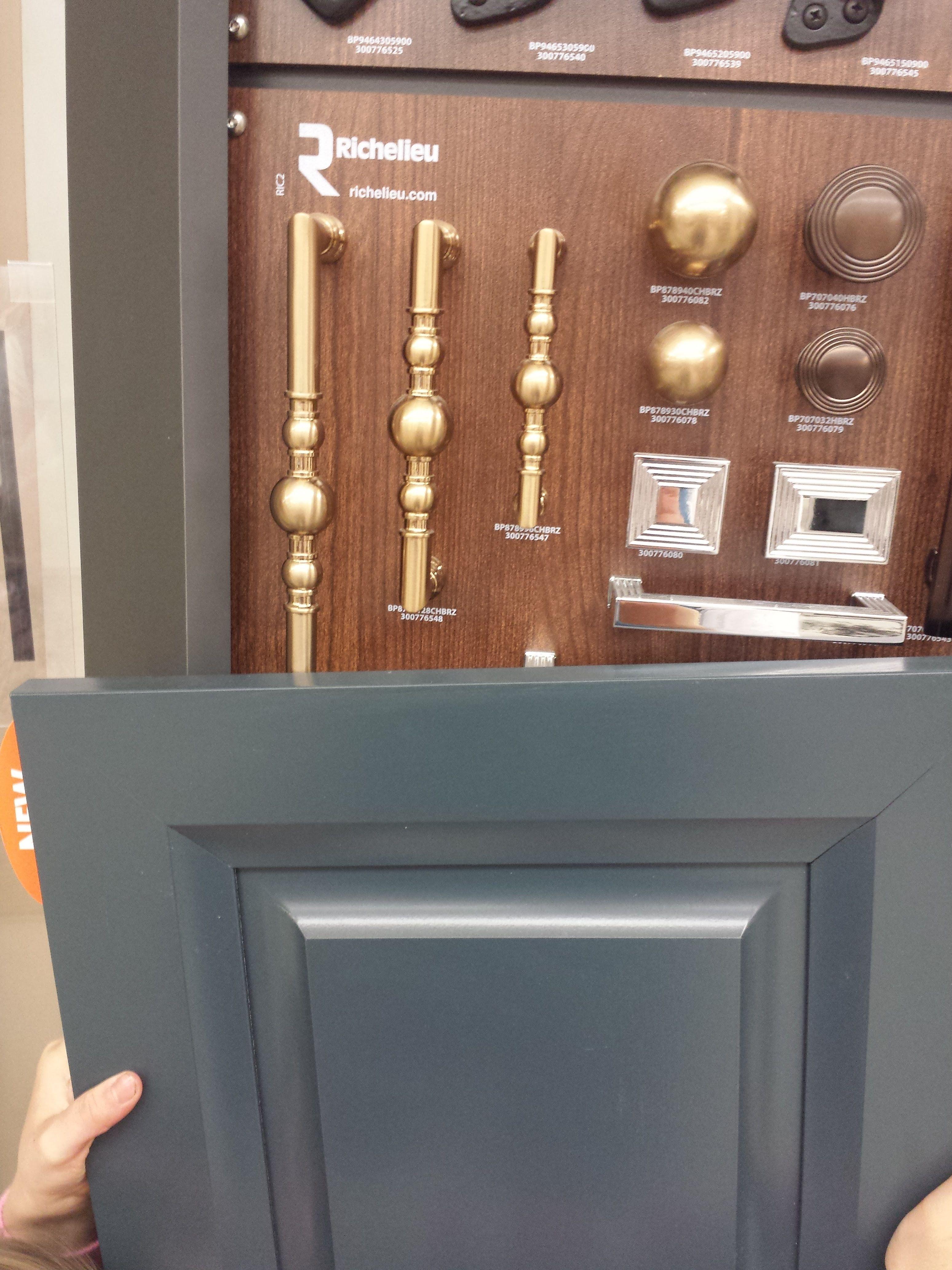 Blue Slate cabinets, champagne bronze hardware | Slate ...