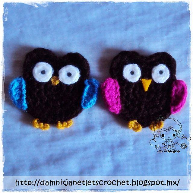 Ravelry: Owl Applique pattern by Janet Carrillo | Crochet Flowers ...