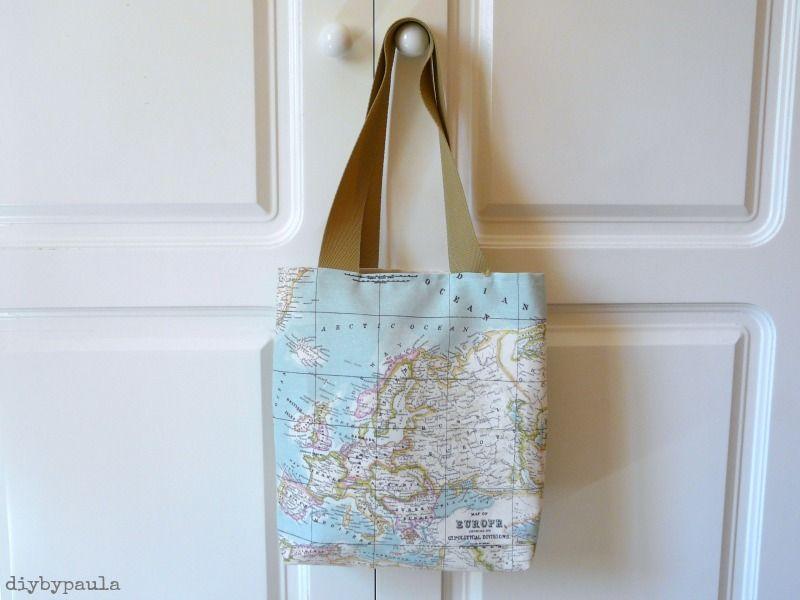 Diy by paula tela mapamundi tutorial de bolsa de tela - Bolsas de tela manualidades ...