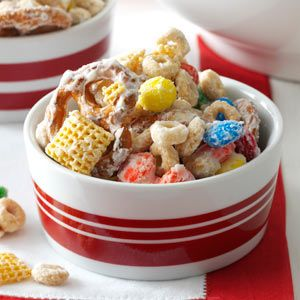 White Chocolate Party Mix (I use Crispex instead of Corn Chex, 1lb white bark instead of white baking chips, and 2 tablespoons oil instead of 3)
