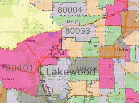 Zip code map of Lakewood, CO | Colorado Smokefree housing | Zip code Zip Code Map Of Colorado on