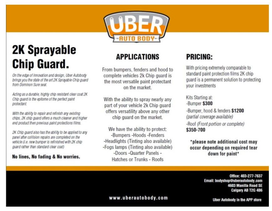 Protect your investment with chip guard at uber auto body