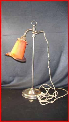 Ancienne Lampe De Bureau Reglable Tulipe Pate De Verre Signee Muller