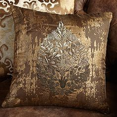 LUXE EMBROIDERED FOIL PRINT PILLOW