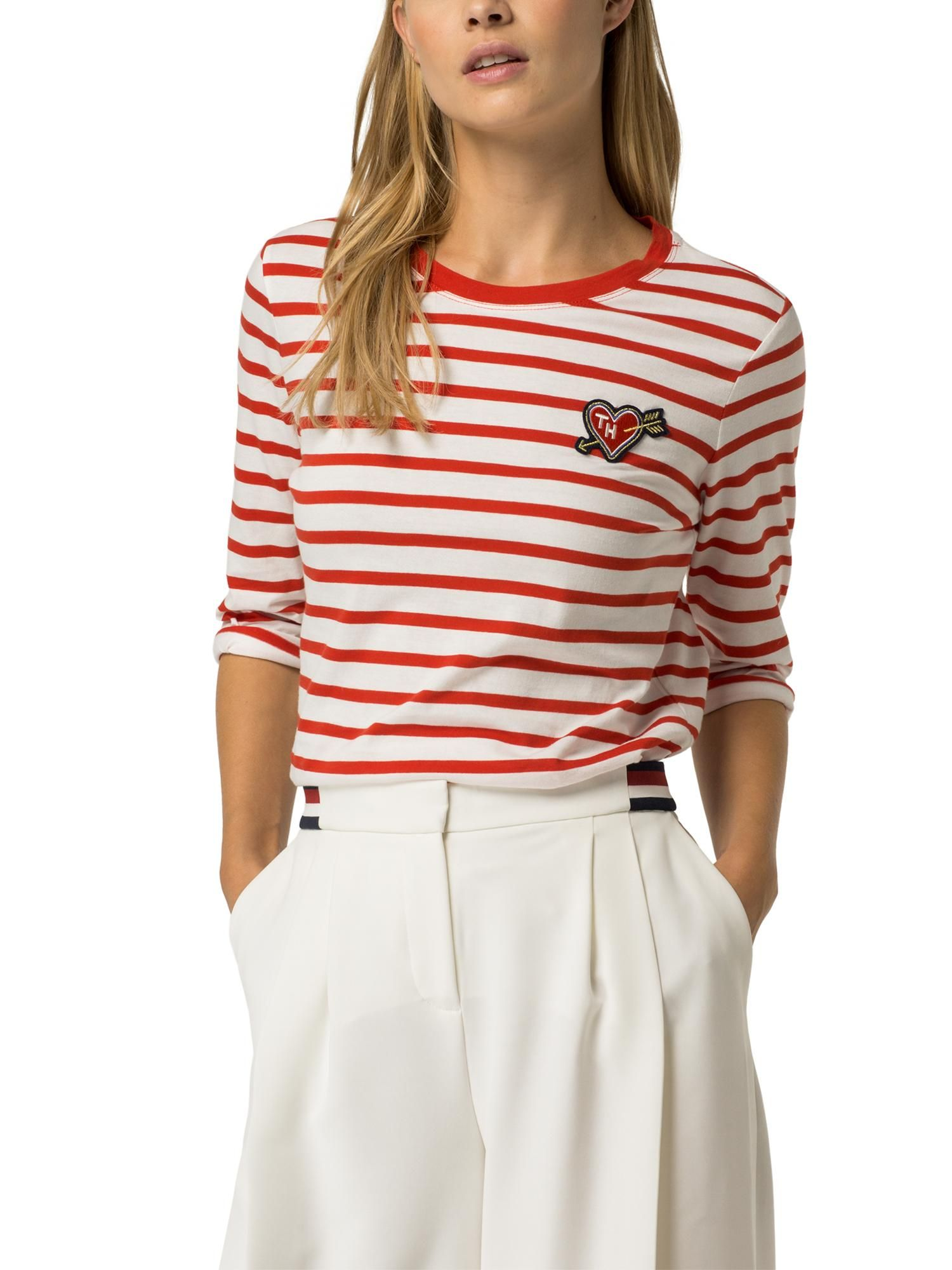 Buy your Tommy Hilfiger Stripe Heart Badge T-shirt online now at ...