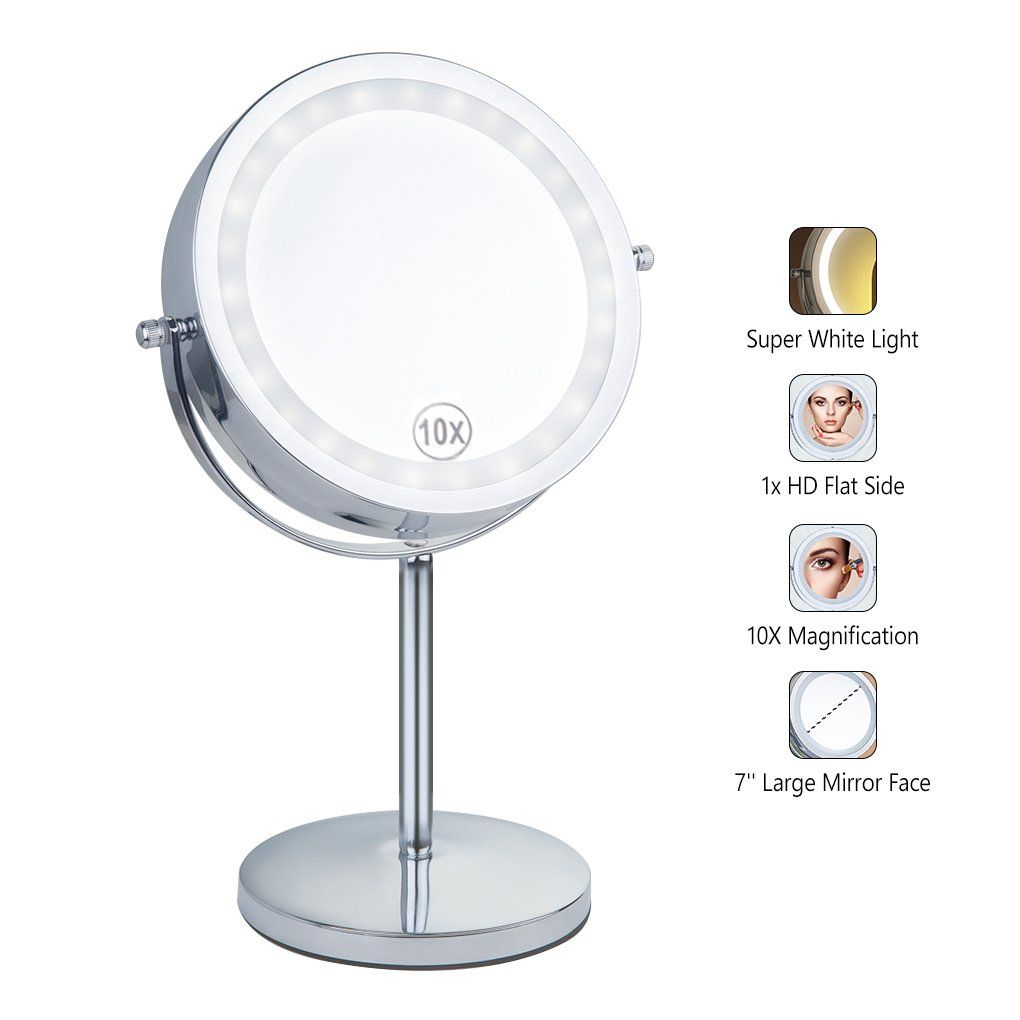 Benbilry Lighted Makeup Mirrorled Double Sided 1x 10x Magnification Round Standing Cosmetic Mirror7 Inch Diamete With Images Makeup Mirror With Lights Makeup Mirror Mirror