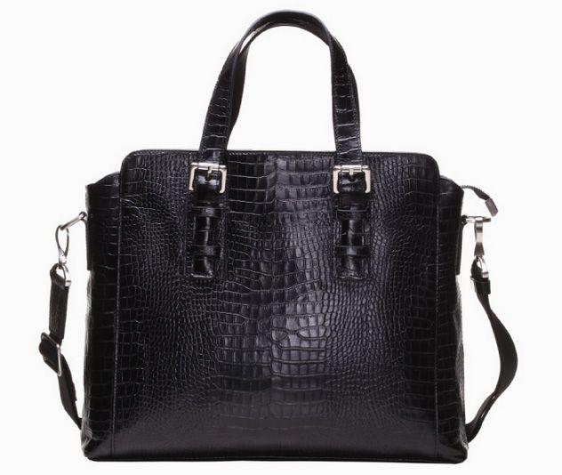 Premium Genuine Italian Crocodile Business Mens Black Bag  | www.pilaeo.com