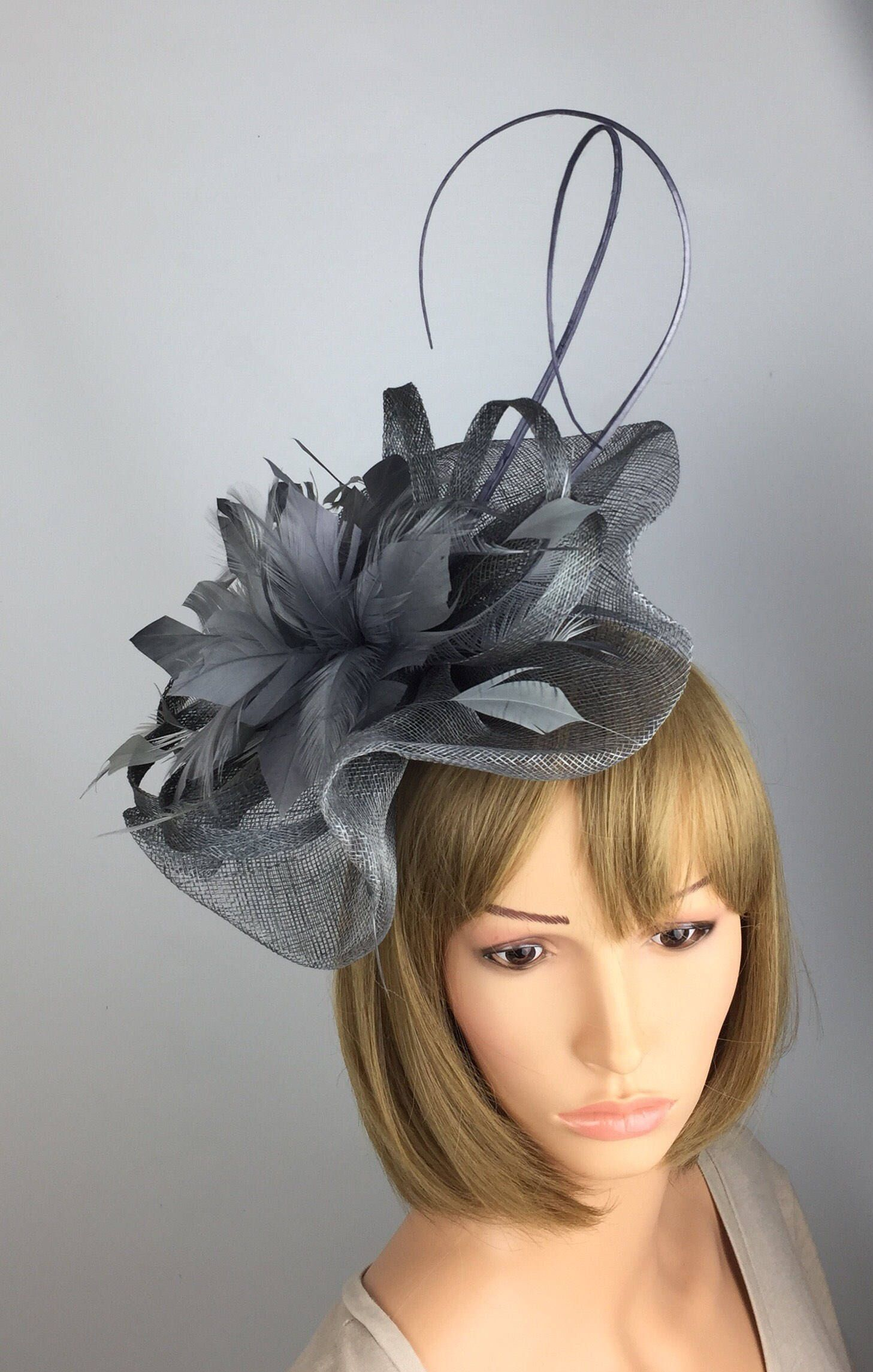af98f86e Excited to share the latest addition to my #etsy shop: Medium Grey  Fascinator,