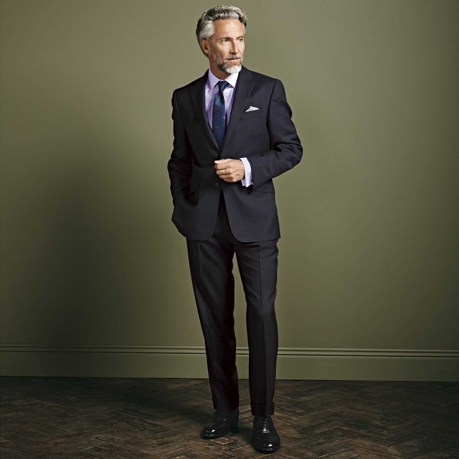 Navy British hopsack Slim fit luxury suit | Men's business ...