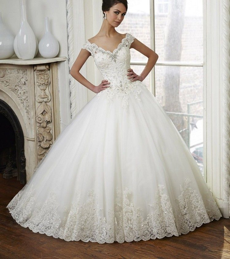 Vintage Lace Ball Gown Wedding Dress Beaded Bridal Dresses 2016 ...