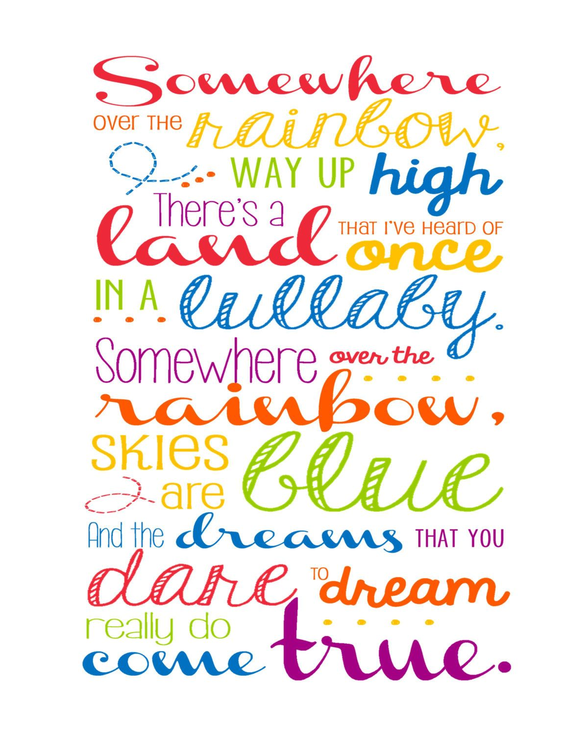 Somewhere Over The Rainbow Wall Art 8x10 Print By