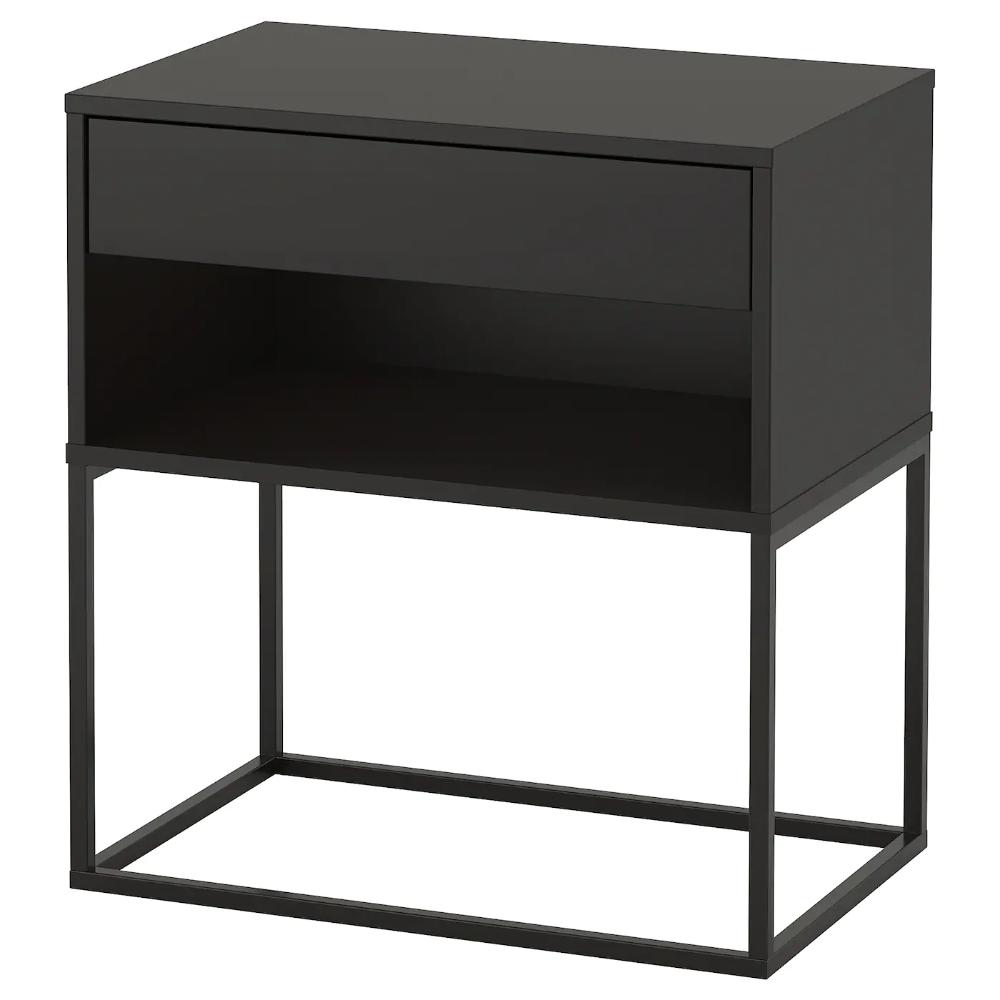 Vikhammer Bedside Table Black 60x39 Cm Ikea Black Bedside Table Black Side Table Metal Nightstand [ 1000 x 1000 Pixel ]