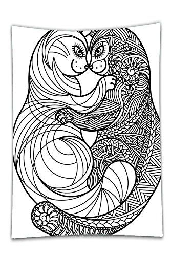 Interestlee Satin Drill Tablecloth Cat Zentangle Hugging Kittens