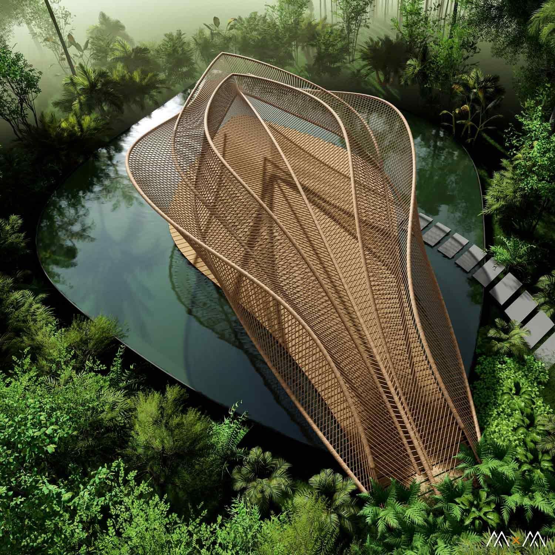 Photo of Jungle Pavilion von M · M in Indonesien – Parametric Architecture