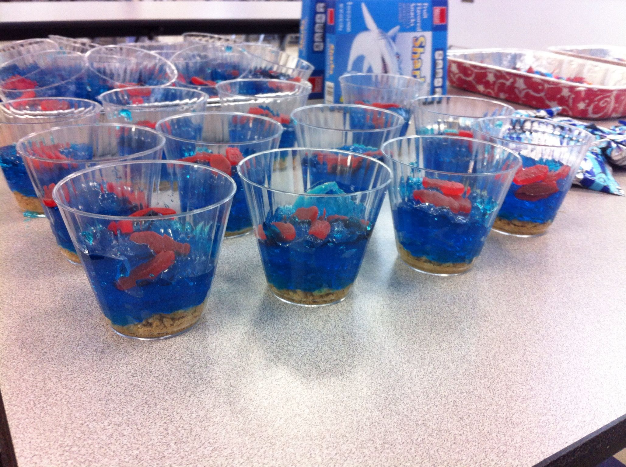 Aquarium cups blue jello graham crackers and swedish for Swedish fish in sweden