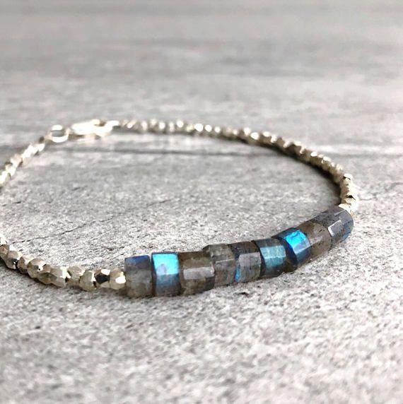 Labradorite Bracelet Hand Beaded Crystal Minimalist Jewelry Sterling Silver Nugget Semi Precious Stone