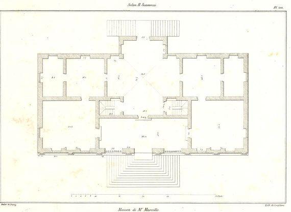 Palladio Villa Marcello Antique Print 1842 Floor Plan According To Scamozzi Plate 202 Architectural Floor Plans Floor Plans Floor Plan Layout
