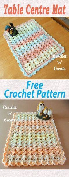 Free crochet pattern for pretty table center mat. #crochet