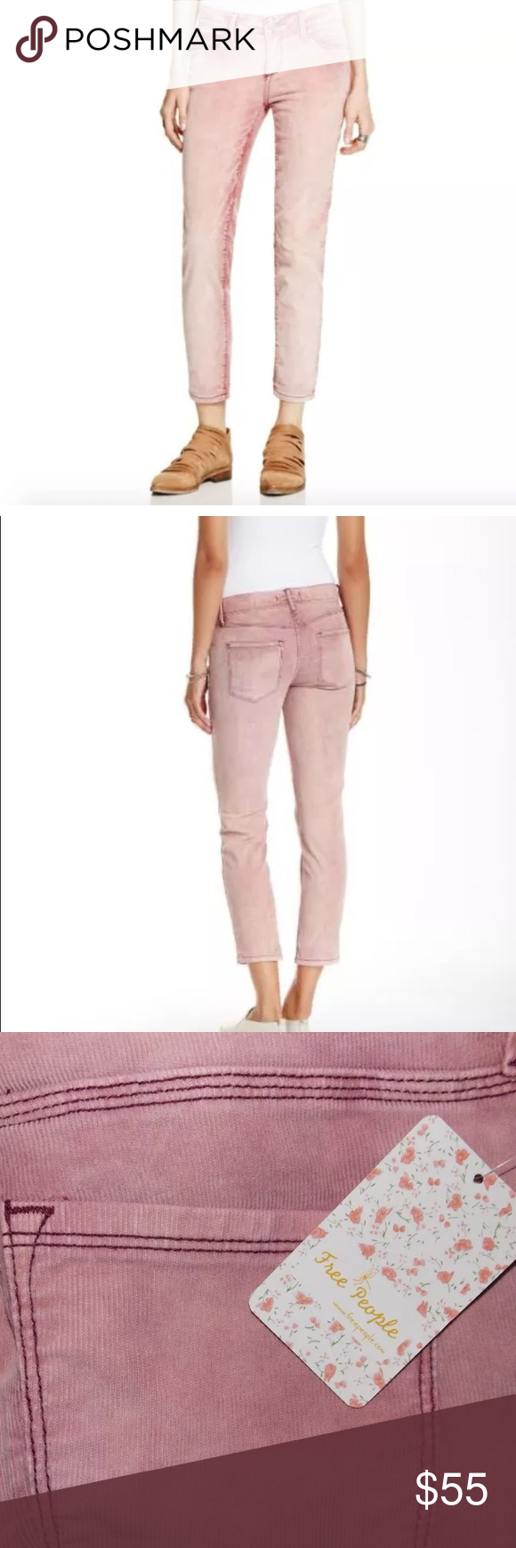 """Free People Corduroy Cropped Pants in Merlot Free People Cropped Pants New with tags! MSRP: $78  Size: 27 Color: merlot Inseam: 29"""" Rise: 9""""  Fabric content: 98% cotton, 2% elastin Free People Jeans Ankle & Cropped"""
