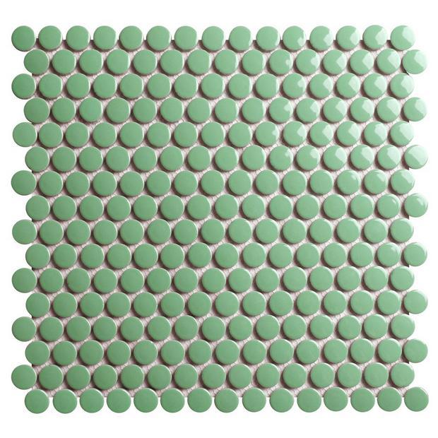 Pistachio Polished Porcelain Penny Mosaic In 2020 Polished Porcelain Tiles Decorative Backsplash Porcelain Tile
