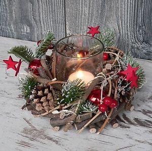 Holzkranz mit Deko Windlicht Advent Adventskranz Weihnachten Holz Glas rot grün…