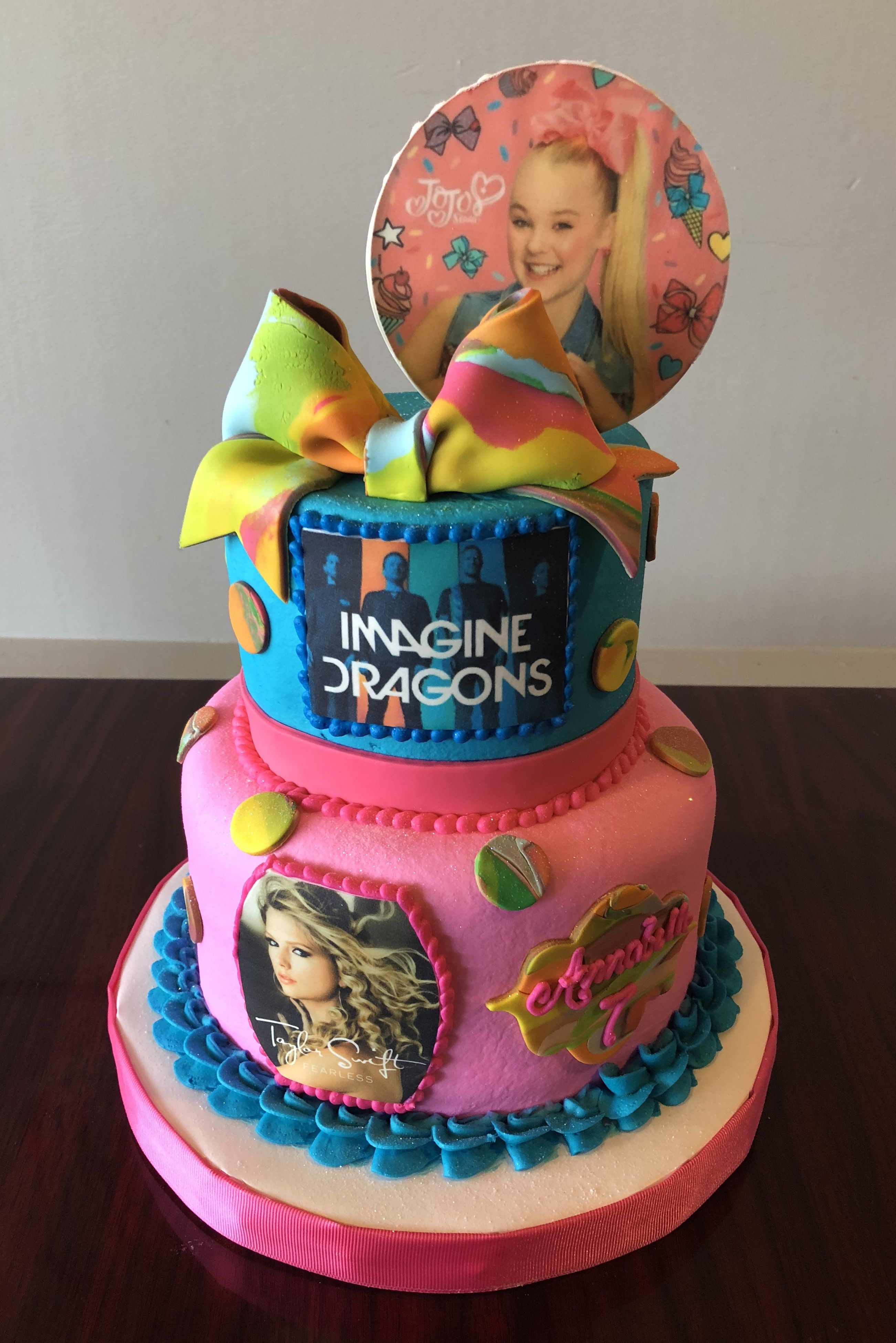 JoJo Siwa, Imagine Dragons and Taylor Swift Birthday Cake