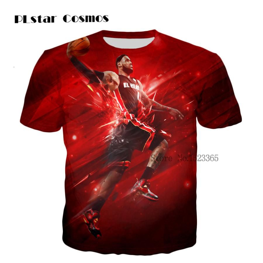 3f2b0c8ddd37 PLstar Cosmos hot sale cool summer fashion Men Women casual T-shirts Star  character Lebron James Dunk print Hip Hop t shirt