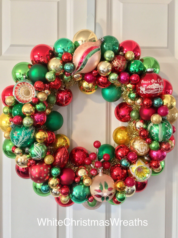 Vintage Ornament Wreath 19 By Whitechristmasstudio On Etsy Https Www Etsy Com Listin Vintage Ornament Wreath Ornament Wreath Beautiful Christmas Decorations