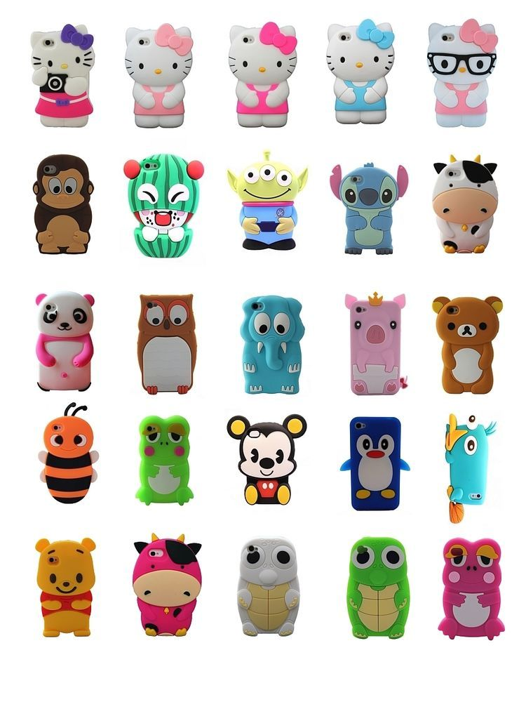 Cartoon Animals Silicone Rubber Gel Tpu Case Cover Skin For iPhone ...