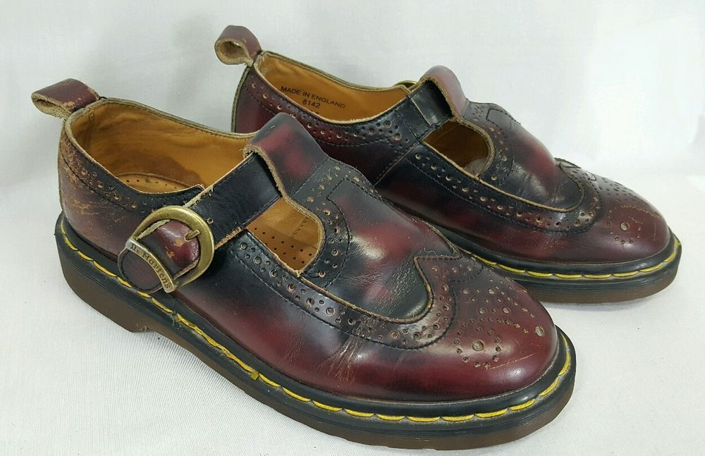 f6fa2e041196 VTG Dr Martens 8142 Oxblood Red Mary Jane Wingtip Womens UK 6 US 8 ENGLAND   DrMartens  MaryJanes