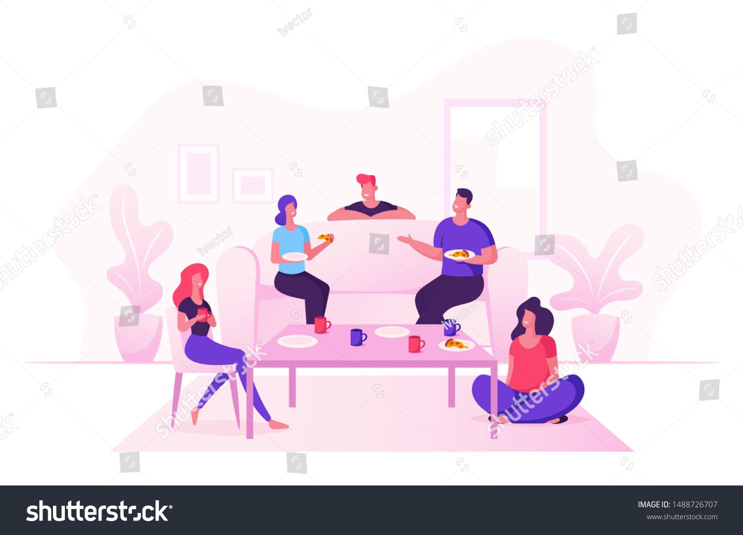 Group of Young People Celebrate at Home Party Sitting at Table in Living Room Eating Pizza Drinking Tea Friends Company Leisure Weekend Spare Time Celebration Cartoon Fla...