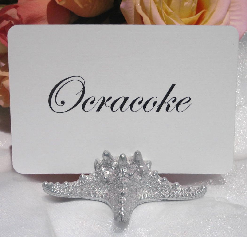 Silver Starfish Table Number Holder   Beach Wedding   Table number ...